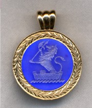 Blue Onyx Family Crest (Coat of Arms) Pendant