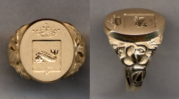 Ladies Gold Family Crest Solid Ring with Carved Shank by Heraldica Imports