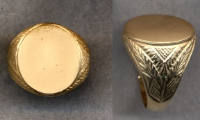 Mens Gold Plain Signet Hollow Ring with Carved Shank by Heraldica Imports