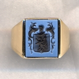 Mens Stone Family Crest Ring with Plain Shank by Heraldica Imports