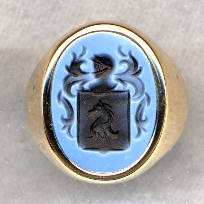A man's Stone Family Crest Ring.